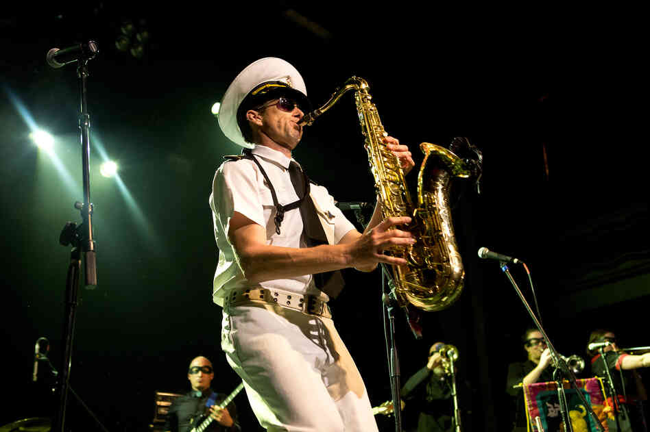 "The Bombay Royale's founder, saxophonist Andy Williamson, is ""The Skipper."""
