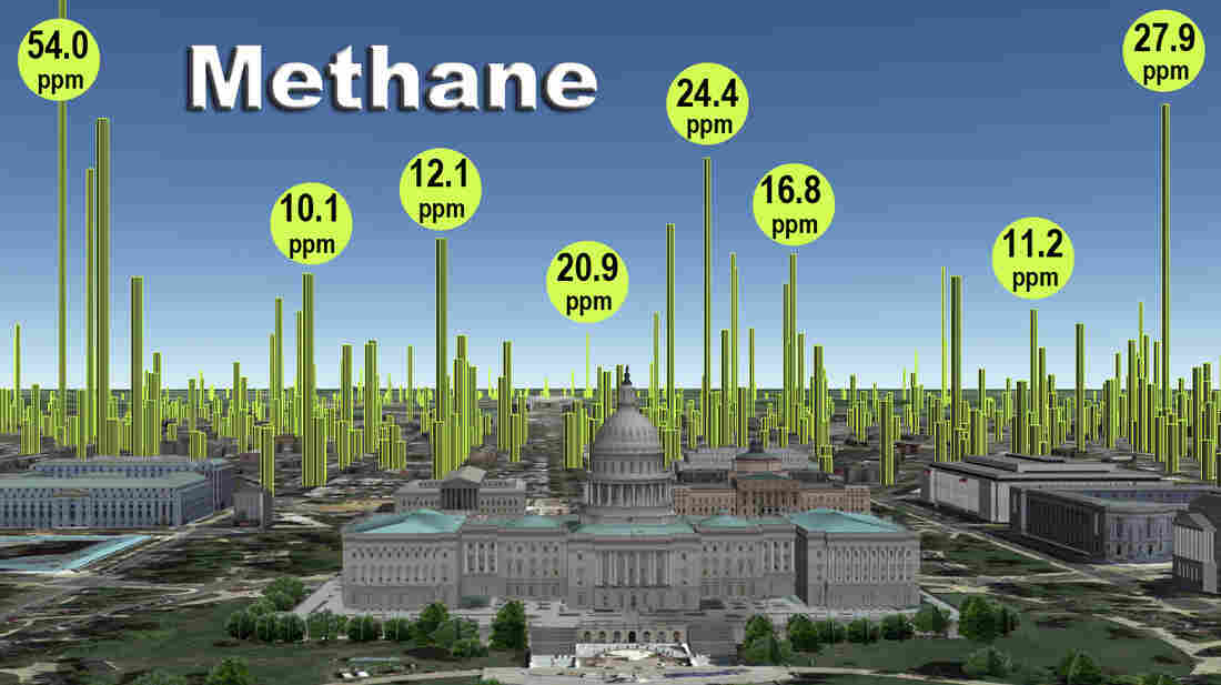 A close-up schematic of leaks near the U.S. Capitol shows high leak densities east of the building, but few leaks over the National Mall, where very few natural gas pipelines exist.
