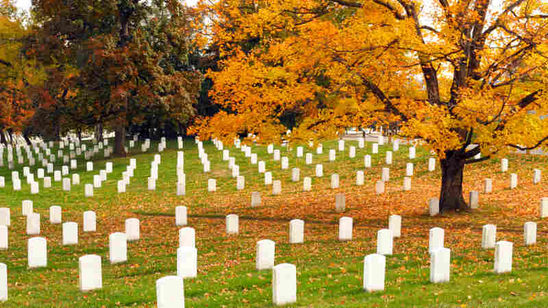 A cemetery in the fall.