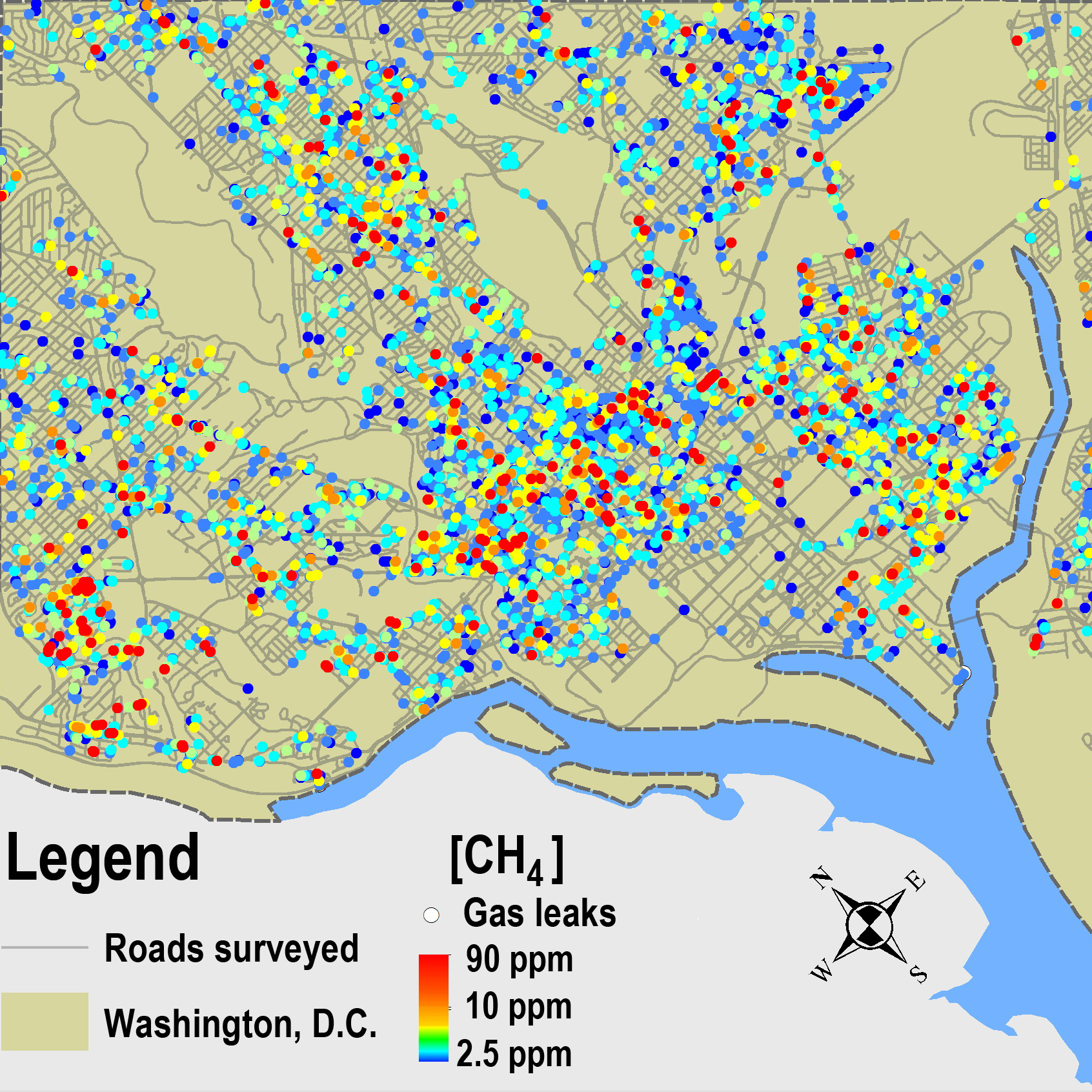 Methane leaks mapped across the 1,500 miles of roads of Washington, D.C.