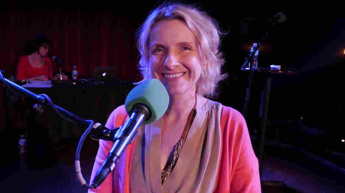 Elizabeth Gilbert, on stage at The Bell House in Brooklyn, N.Y.