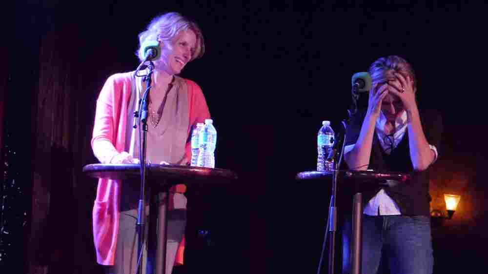 V.I.P. Elizabeth Gilbert (left) and chef Gabrielle Hamilton duke it out in a trivia round based on Eat, Pray, Love.