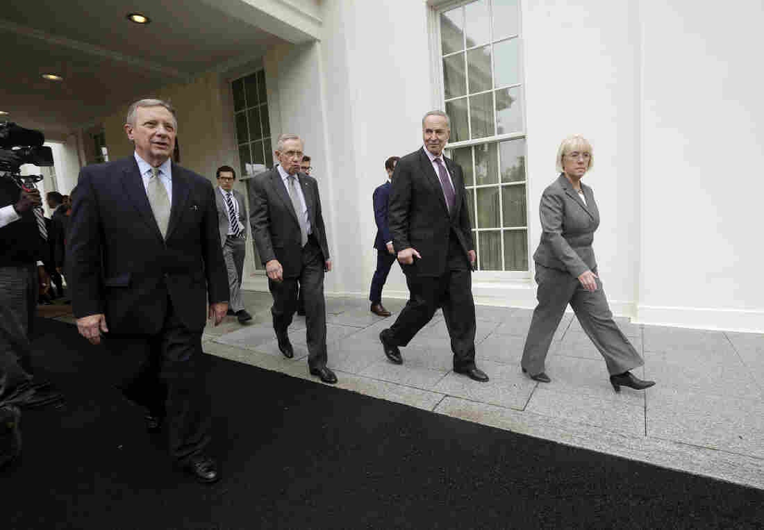 Senate Democrats at the White House last fall during the government shutdown fight.