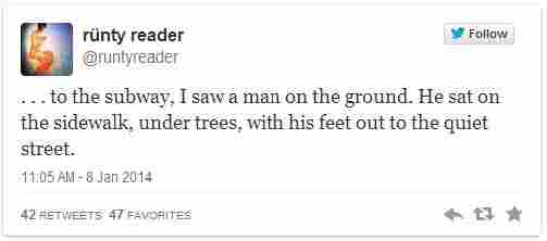 A tweet from Teju Cole's short story 'Hafiz'