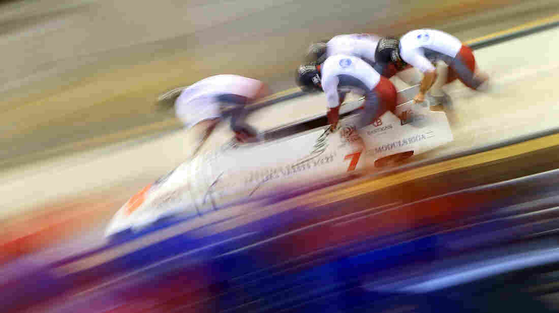 A Latvian four-man bobsled team competes in the World Cup on Feb. 17, 2013, at the Sanki Sliding Center near Sochi, Russia. The track, which actually ascends in three places to slow the speed of the athletes, is being used for Olympic bobsled, skeleton and luge next month.