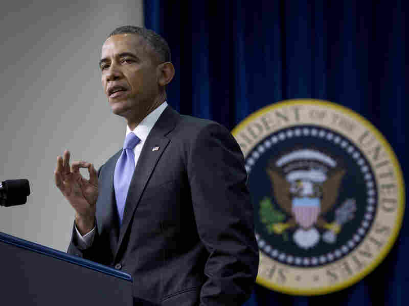 President Obama speaks Thursday in the Eisenhower Executive Office Building's South Court Auditorium on the White House complex.