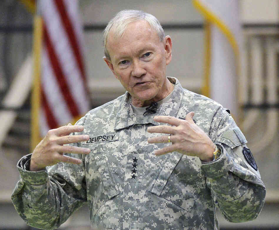 Gen. Martin Dempsey, chairman of the Joint Chiefs of Staff, talking to U.S. military personnel in Tokyo last April.