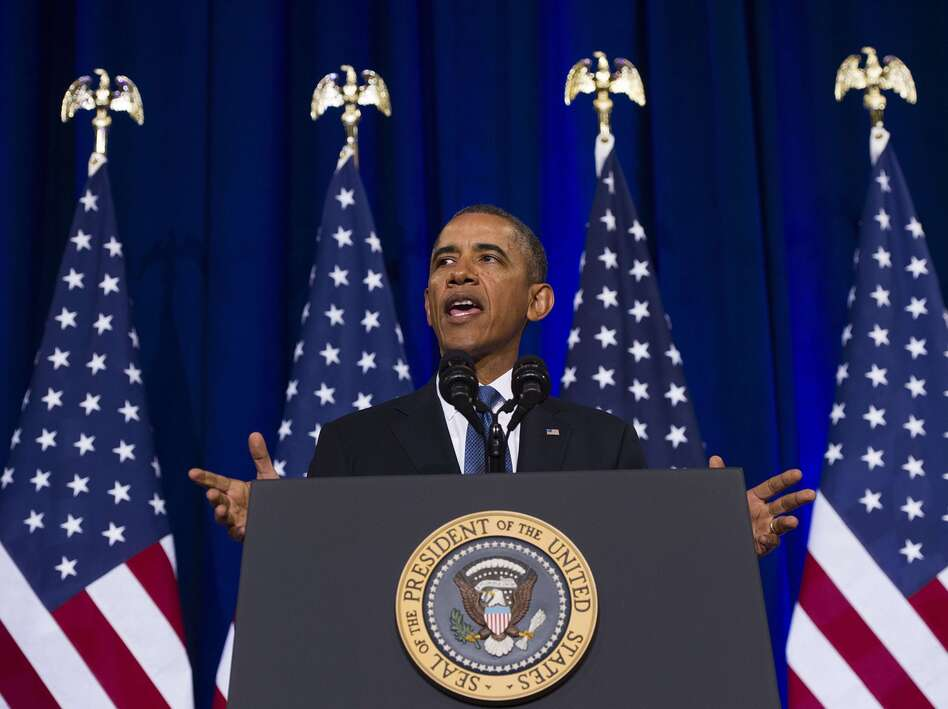 President Obama speaks about the National Security Agency and intelligence agencies surveillance techniques during a speech Friday at the Department of Justice in Washington, D.C. (Jim Watson/AFP/Getty Images)