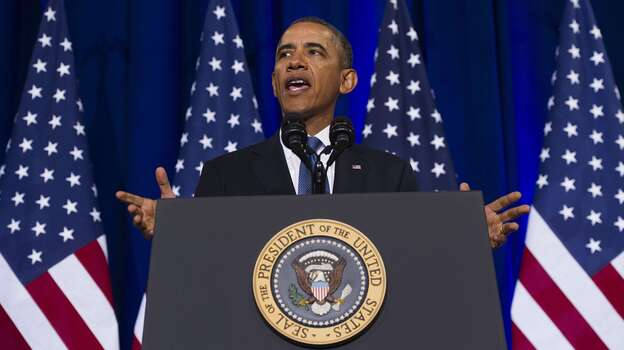 President Obama speaks about the National Security Agency and intelligence agencies surveillance techniques during a speech Friday at the Department of Justice in Washington, D.C. (AFP/Getty Images)