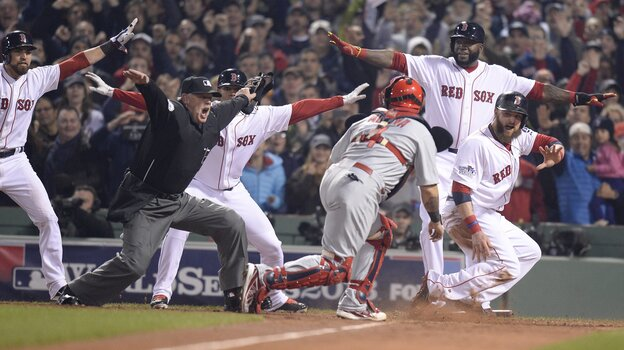 Upon further review ... Boston Red Sox baserunner Jonny Gomes, right, would still be safe at home during last