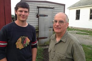 Marty Travis (right) started the Stewards of the Land food hub in 2005. His son Will helps him transport food from local farms to area restaurants.