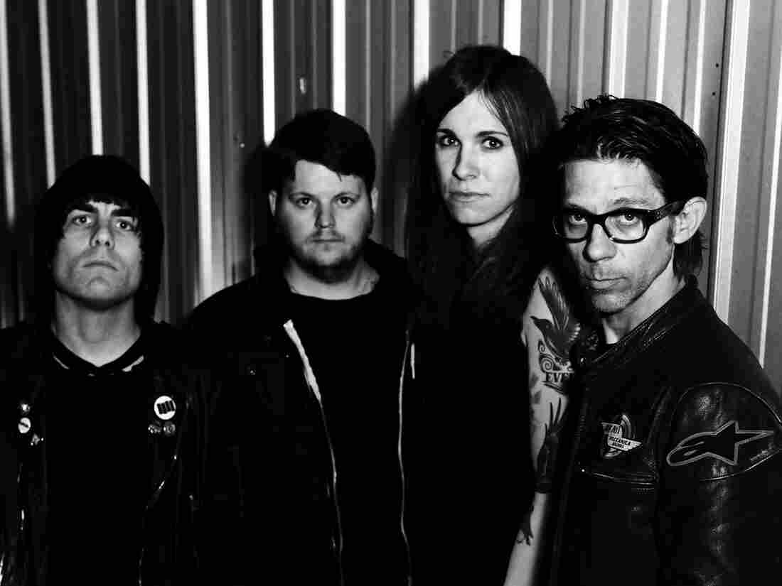 Against Me!'s latest album is Transgender Dysphoria Blues. Left to right: Inge Johansson, James Bowman, Laura Jane Grace, Atom Willard.