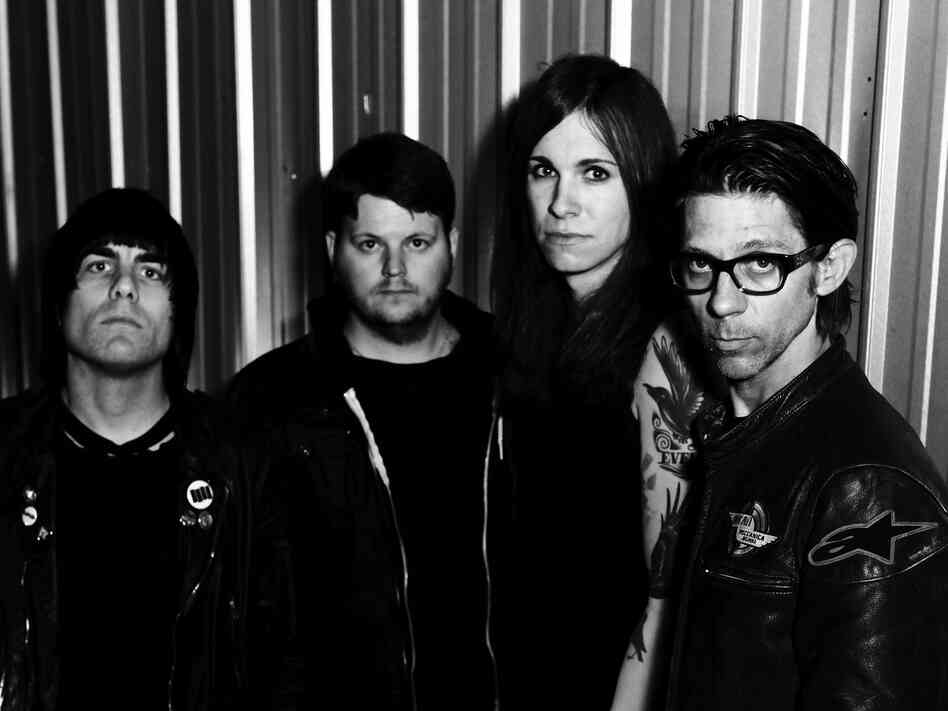 Against Me!'s latest album is Transgender Dysphoria Blues. Left to right: Inge Johansson, James Bowman, Laura Jane Grace, Atom Willard.