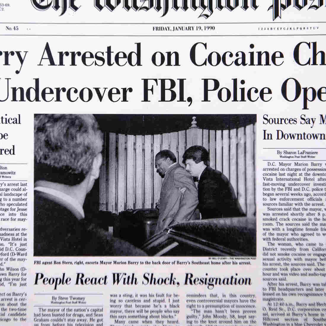 Bill O'Leary's photo of Marion Barry getting escorted by an FBI agent made the front page of the Jan. 19, 1990, issue of The Washington Post.