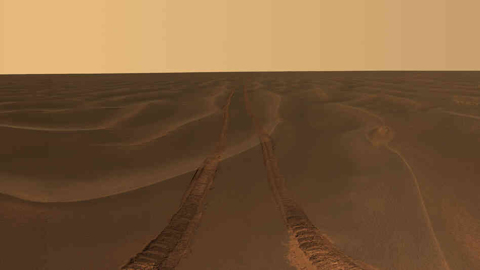 Tracks from NASA's Opportunity rover disappear toward the horizon on the Meridiani Plains of Mars. The rover has been on the planet since 2004.