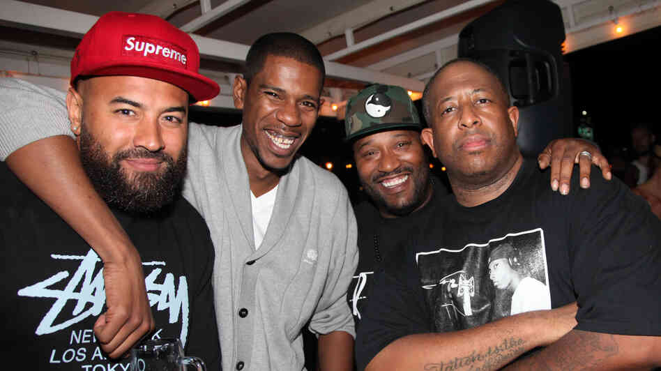 Ebro Darden (left) with (from left to right) Young Guru, Bun B and DJ Premier in June 2012 in New York City.
