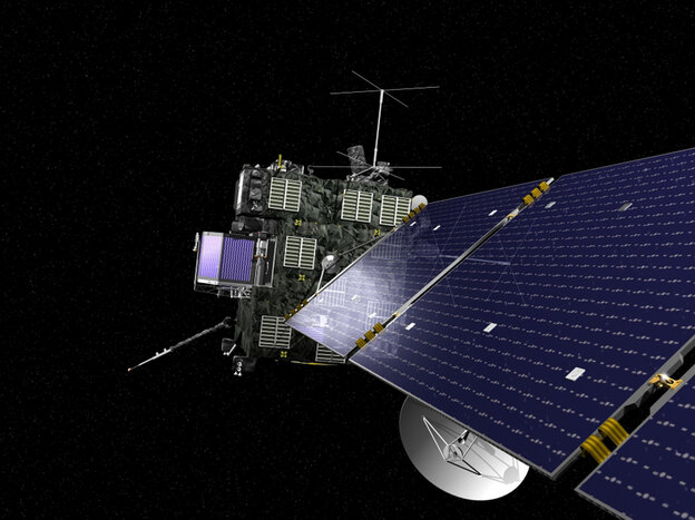 Rosetta, the European Space Agency's cometary probe with NASA contributions, is seen in an undated artist's rendering.