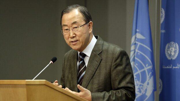 United Nations Secretary-General Ban Ki-moon addresses the media during a news conference at U.N. headquarters in New York on Sunday. (EPA/Landov)