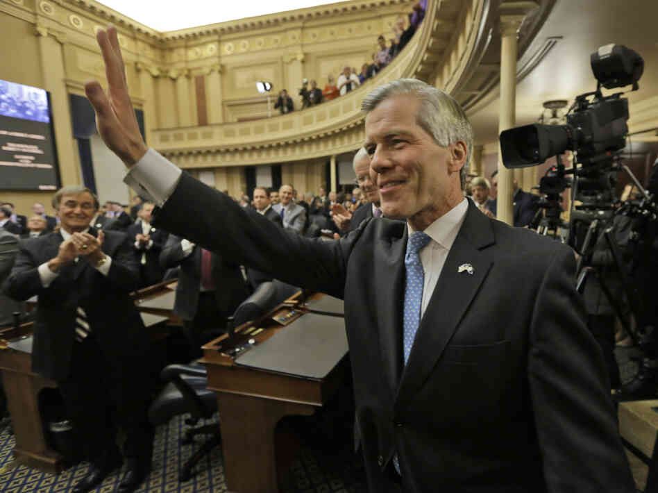 Virginia Gov. Bob McDonnell waves to the crowd after delivering his final State of the Commonwealth address before a joint session of the 2014 General Assembly at the Capitol in Richmond on Jan. 8.