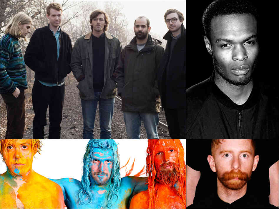 Clockwise from upper left: Real Estate, Actress, Saintseneca, Wax Fang