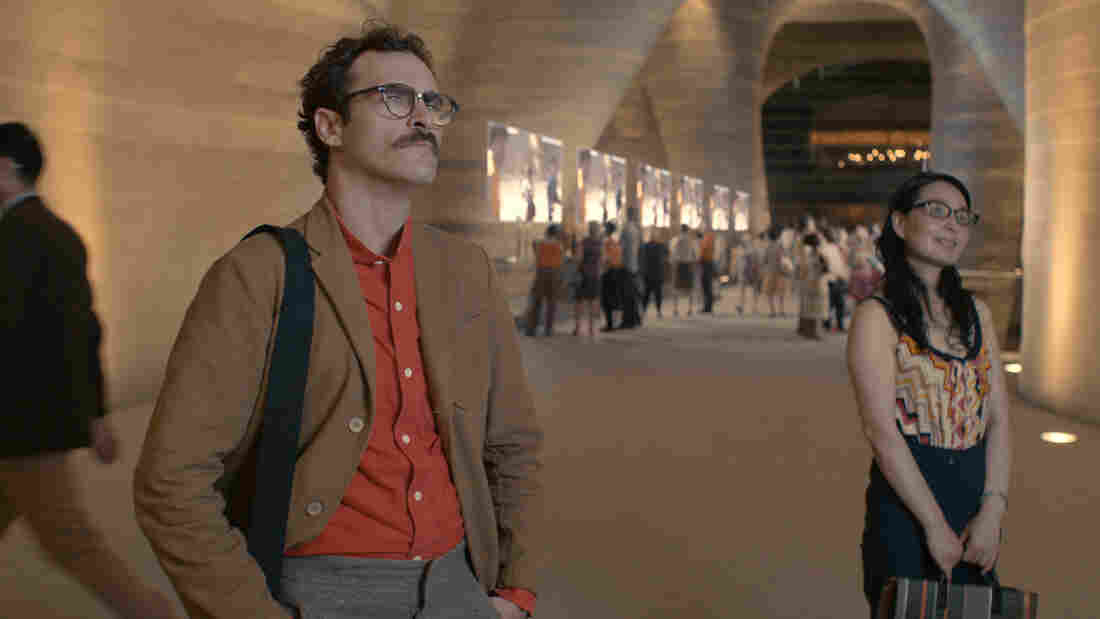 Joaquin Phoenix's Her character, Theodore, has a job writing intimate — and sometimes erotic — cards and letters on behalf of other people.
