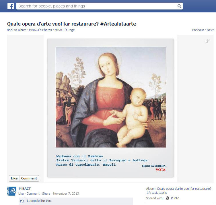 Pietro Perugino's painting of a Madonna and Child --�� shown above in the context of its L'Arte Auita L'Arte campaign page on Facebook -- won the popular vote.