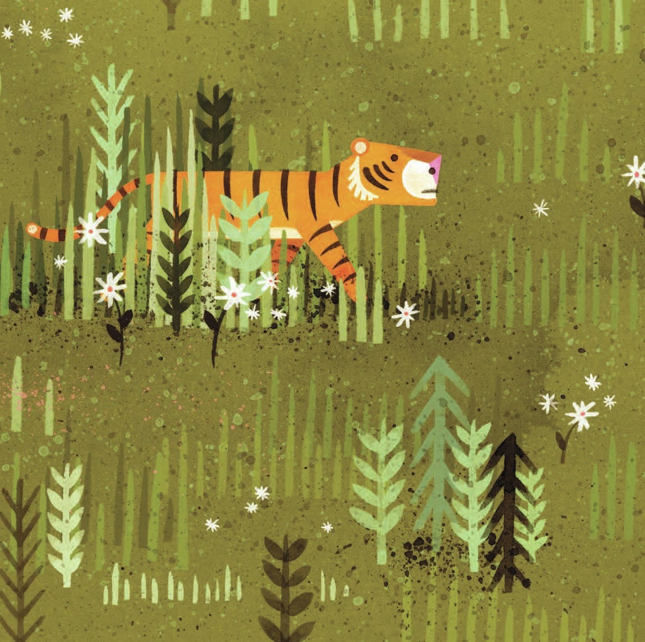 A spread from Peter Brown's Mr. Tiger Goes Wild.