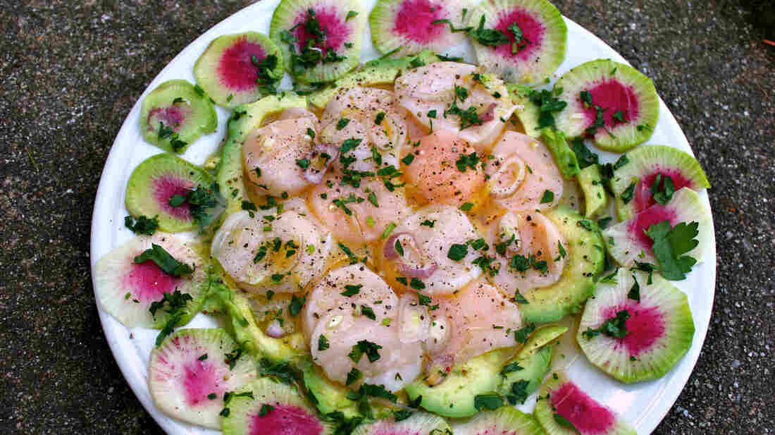 Sea Scallop Ceviche With Watermelon Radish And Avocado