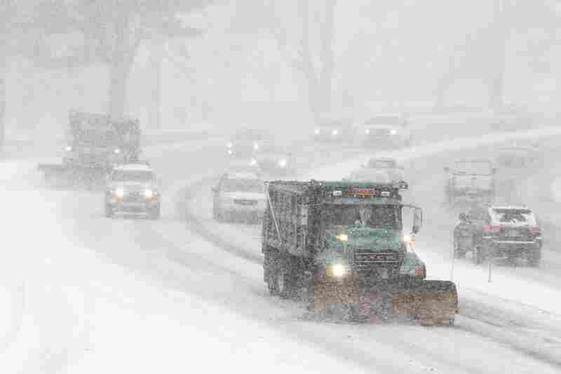 A snowplow tries to keep lanes clear in Philadelphia. According to the Weather Channel, the snowy weather will be affecting tens of millions of people in one of the nation's most-populated stretches.