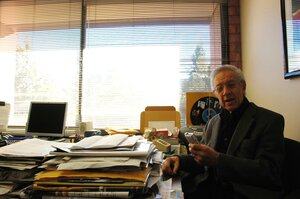 Kenny Burrell in his UCLA office.