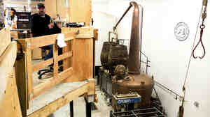 Evan Parker built the interior space of the distillery himself in a small warehouse near the coast. Parker and his business partner, Mat Perry, have desks overlooking their 400-gallon copper kettle and still.