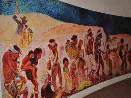 A portion of Navajo artist Shonto Begay's mural depicting the Long Walk.