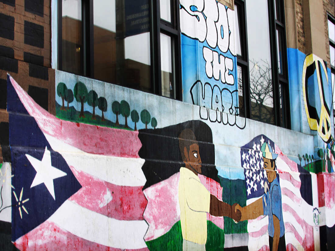 Mural depicting the Puerto Rican flag in Brooklyn, New York.