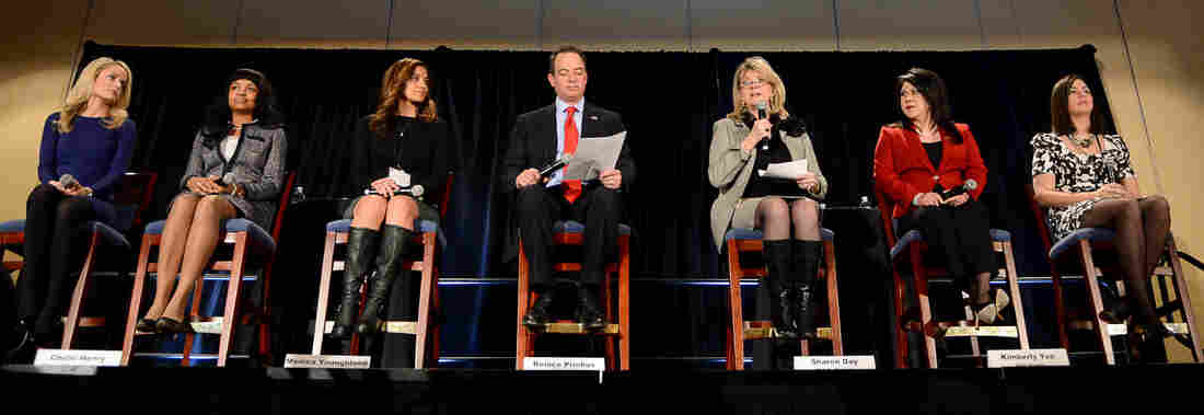 """Republican National Committee Chairman Reince Priebus and RNC Co-Chair Sharon Day (third from right) introduce the group's latest """"rising stars"""" Thursday in Washington: Alison Howard (from left), Chelsi P. Henry, Monica Youngblood, Kimberly Yee and Alex Smith."""