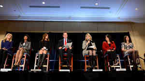 "Republican National Committee Chairman Reince Priebus and RNC Co-Chair Sharon Day (third from right) introduce the group's latest ""rising stars"" Thursday in Washington: Alison Howard (from left), Chelsi P. Henry, Monica Youngblood, Kimberly Yee and Alex Smith."