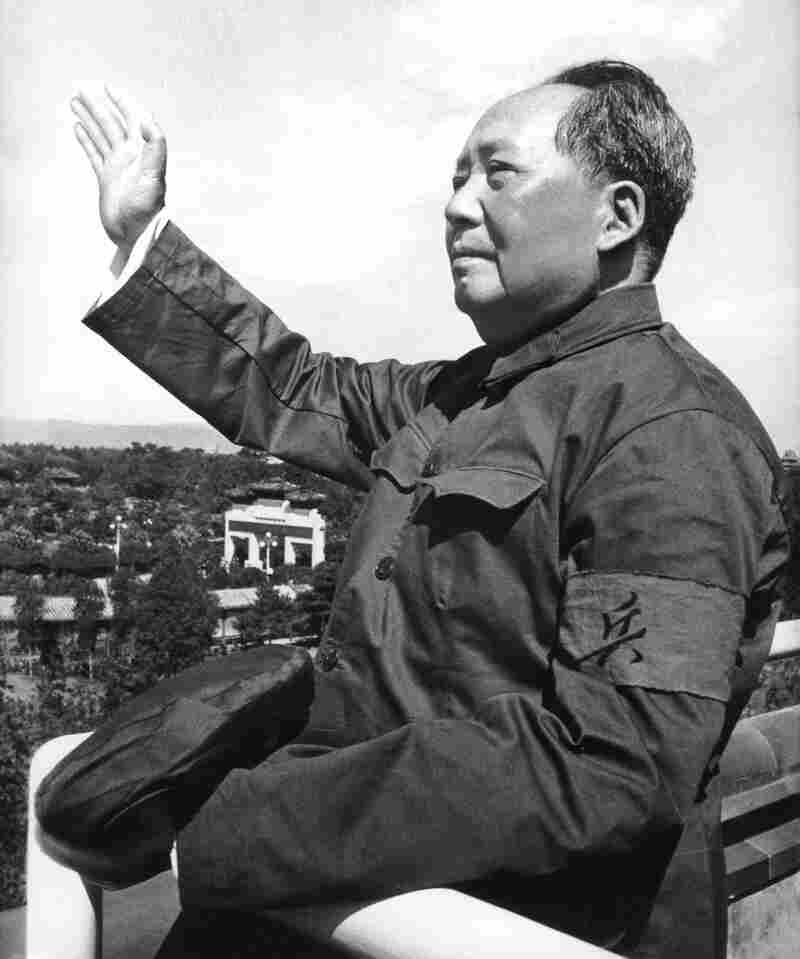 """Mao Zedong reviews the army forces of the """"Great Proletarian Cultural Revolution"""" at  Tiananmen Square in August 1966."""