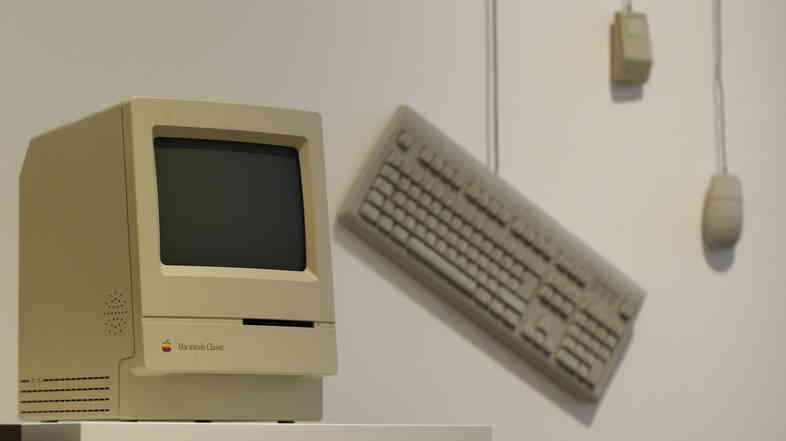 A 1984 Apple Macintosh Classic was on display at the Museum for Art and Industry in Hamburg, Germany, in 2011.