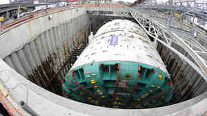 "In this photo made with a fisheye wide-angle lens, ""Bertha"" is shown in July as it prepares to begin tunneling in Seattle."