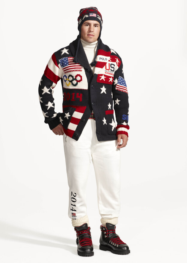 This image released by Ralph Lauren shows American hockey player Zach Parise wearing the official uniform tha