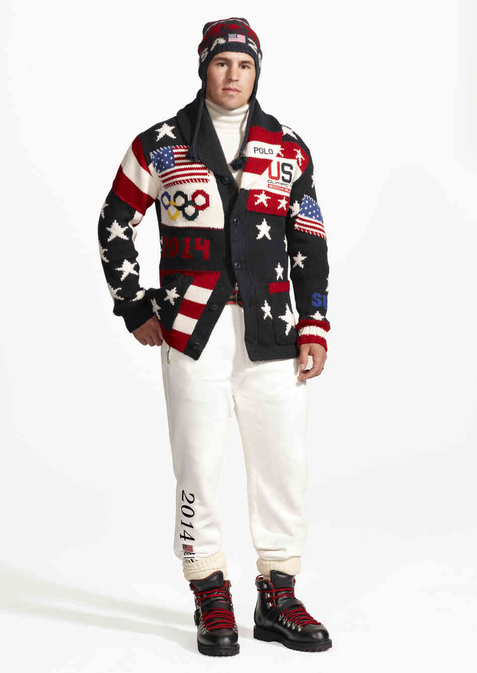 This image released by Ralph Lauren shows American hockey player Zach Parise wearing the official uniform that Team USA will wear during opening ceremonies for the 2014 Winter Olympics in Sochi, Russia