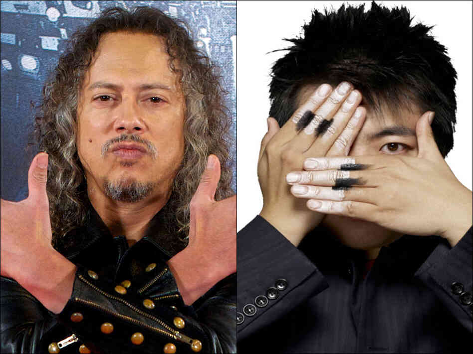 Guitarist Kirk Hammett (left) and his band Metallica will join classical pianist lang Lang on stage at the Grammy wards telecast Sunday night.