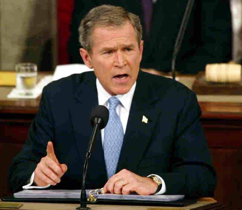President George W. Bush gives his State of the Union address on Capitol Hill in Washington on Jan. 29, 2002.