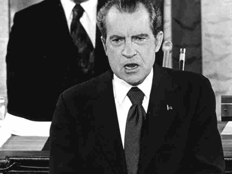 President Richard M. Nixon delivers a State of the Union message before a joint session of Congress in January 1974.