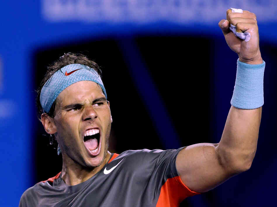 Rafael Nadal of Spain celebrates after defeating Roger Federer of Switzerland during their semifinal Friday at the Australian Open tennis championship in Melbourne.