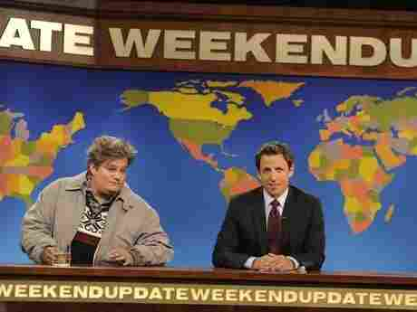 "Bobby Moynihan (left) appears on Saturday Night Live as the character ""Drunk Uncle."""