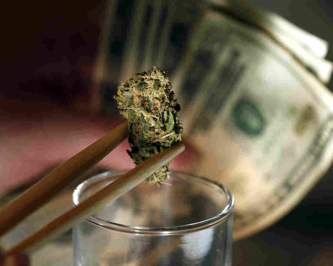"""A marijuana bud and cash at a shop in Denver. An owner of marijuana stores in the city says of his company's bank account, """"We treat it like gold."""""""
