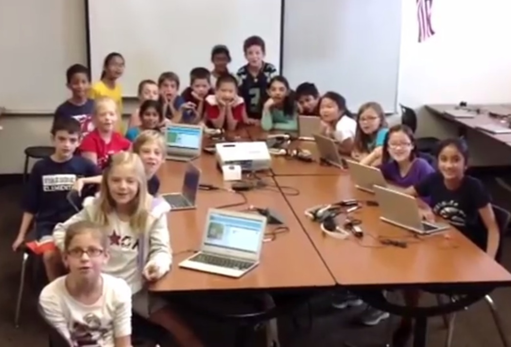 Janice Mak's computer class of 3rd and 4th graders makes an appearance in a Youtube video encouraging people to participate in the Hour of Code.
