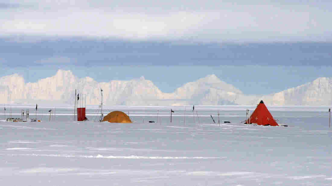 Ross' campsite on the West Antarctic ice sheet. For weeks, researchers eat, sleep and analyze data in these tents.