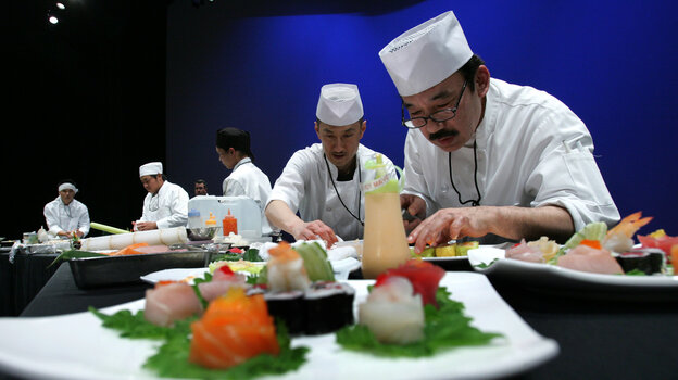 Sushi chefs during the 2008 SushiMasters Los Angeles Regional Competition. Many sushi chefs believe bare hands are essential to their art.