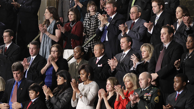 First lady Michelle Obama and invited guests in her box applaud during President Obama's State of the Union address in Washington, Jan. 25, 2011. (AP)